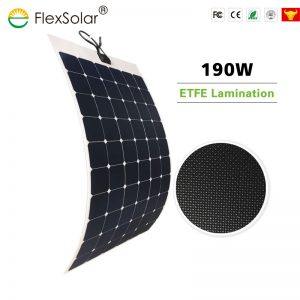 Flexsolar High Efficiency Sunpower ETFE 190W Flexible Solar Power Panel for Boat, RV, Roof