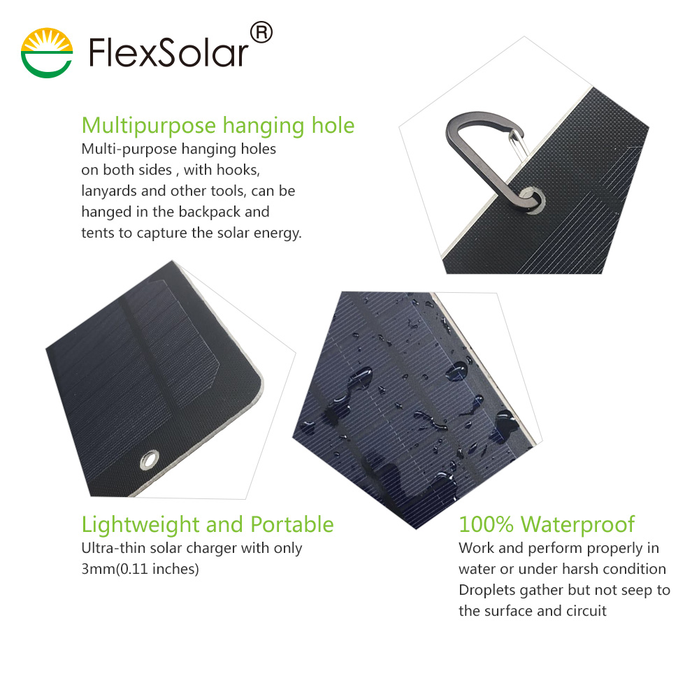 Flexsolar 2 Pack 6w Portable Solar Charger Panel Shockproof Mobile Battery Based Multipurpose Circuit Power With 5v Usb Regulated Output For Smart Phonepower Bank And Gps Units